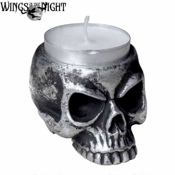 ALCHEMY GOTHIC Skull Tealight Candle Holder